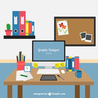 graphic designer workplace vector free download designer desk essentials vector graphics 365psd com