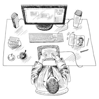 Graphic designer workspace