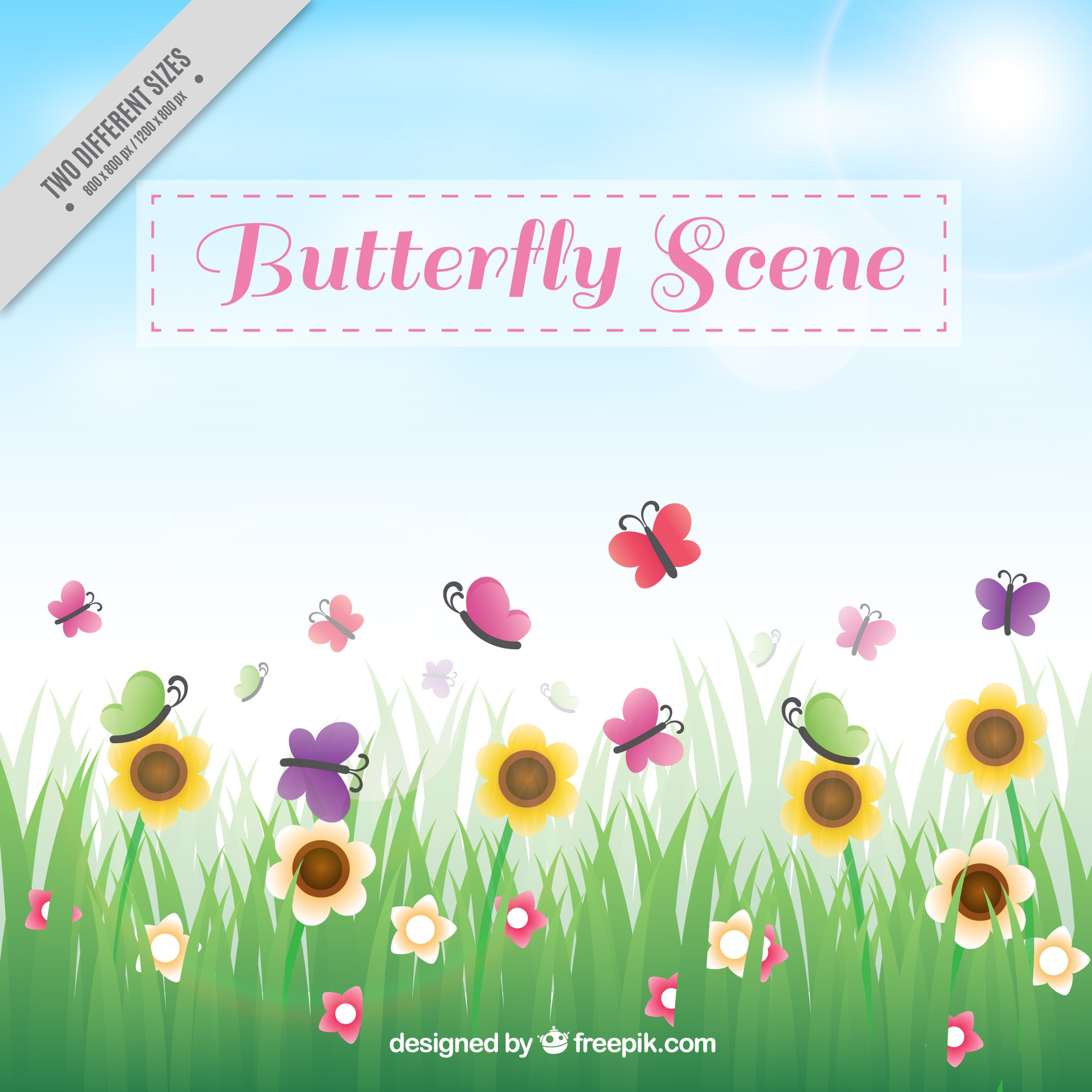 Grass background with flowers and butterflies