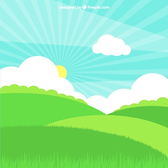 Grass field with sun and clouds in flat design