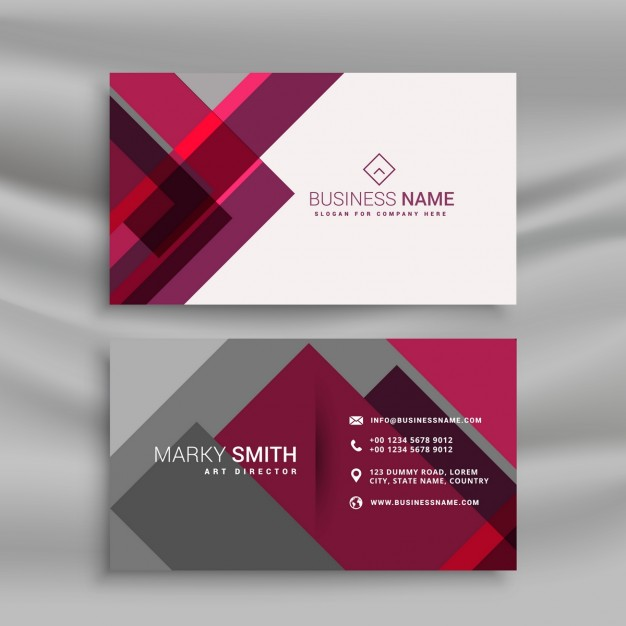 Gray and pink business card
