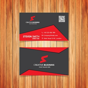 Gray and red abstract business card