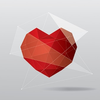 Gray background with a polygonal red heart