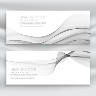 Gray banners with wavy shapes