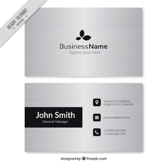 Gray business card with black elements