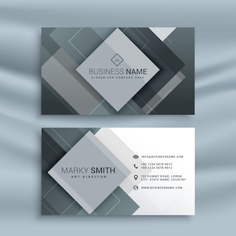 Gray business card with geometric shapes