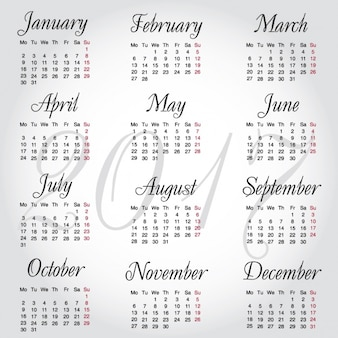 Gray calendar for 2017