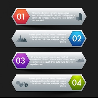 Gray infographic banners with colorful hexagons