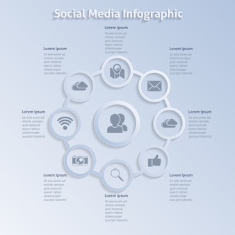 Gray infographics about social networks