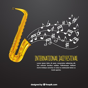 Gray saxophone background with musical notes