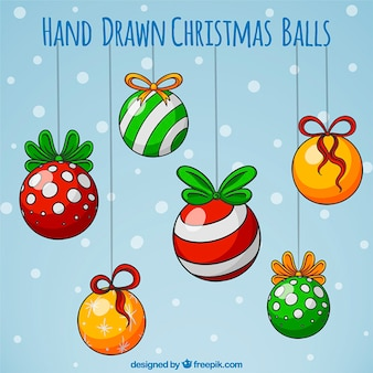 Great assortment of six hand-drawn christmas balls