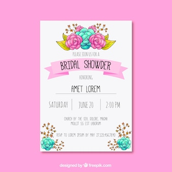 Great bachelorette invitation with cute floral decoration