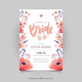 Great bachelorette invitation with red and blue flowers