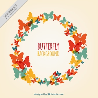Great background of colored butterfly silhouettes