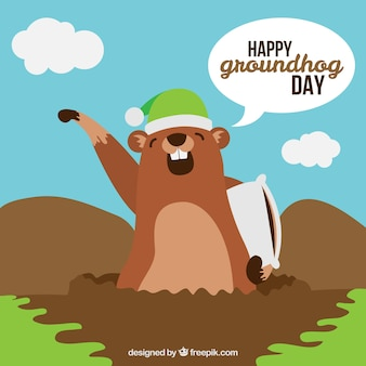 Great background of groundhog yawning