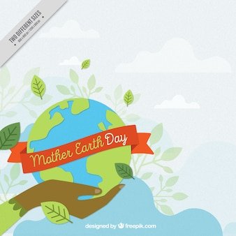 Great background of hand holding the mother earth