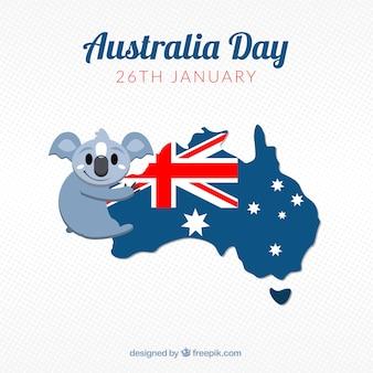 Great background of koala hugging an australia map