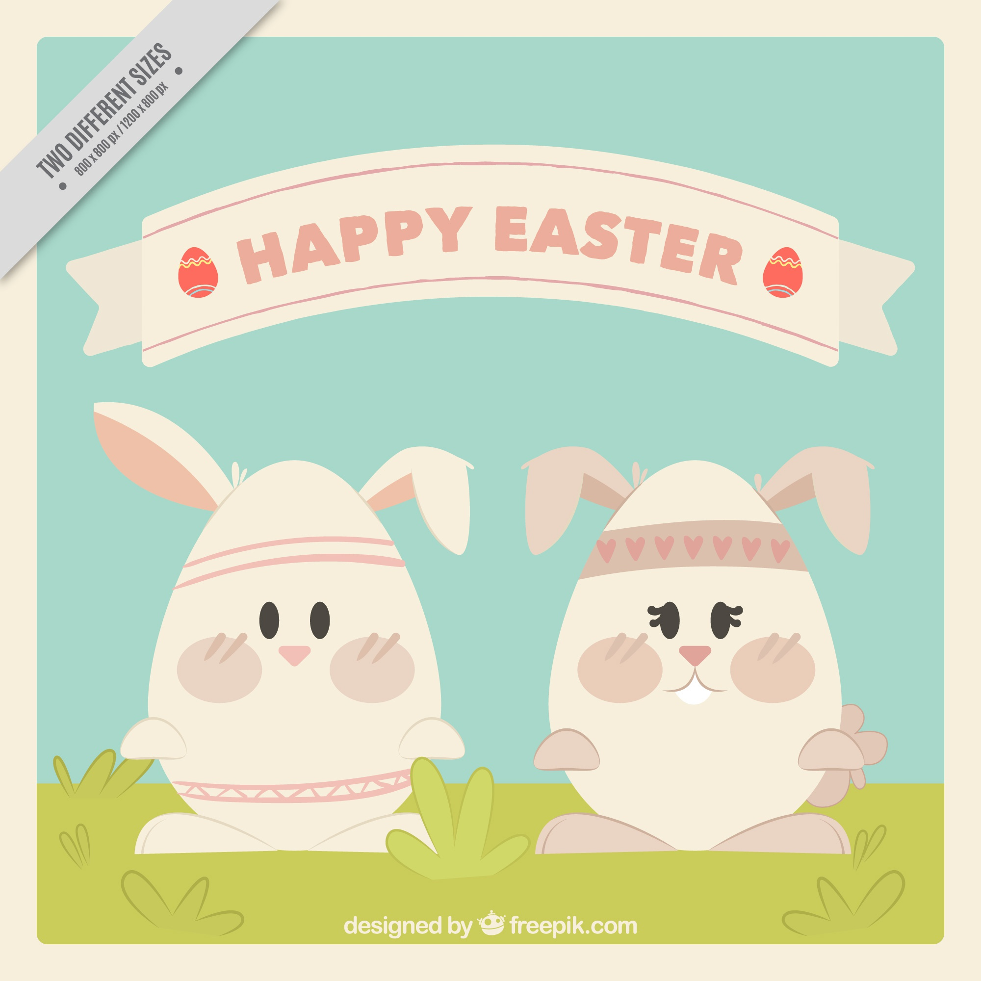 Great background of two easter rabbits with egg-shaped