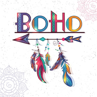 Great background with colored feathers in boho style