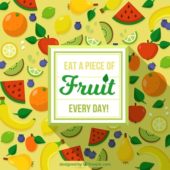 フラットデザインで色とりどりの果物と素晴らしい背景