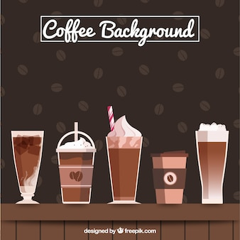 Great background with different types of coffee