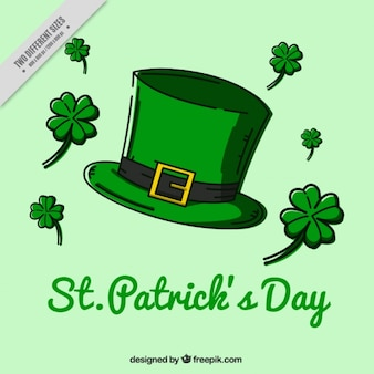 Great background with hat and clover for st patrick's day