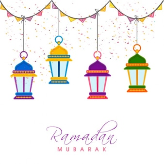 Great background with lanterns hanging for ramadan mubarak