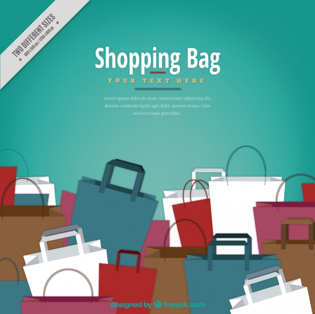 Great background with shopping bags in flat design