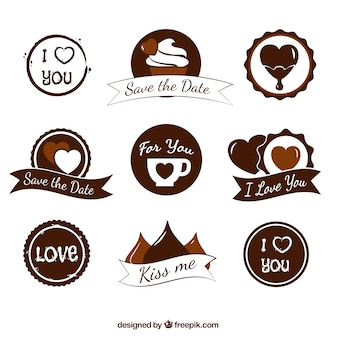 Great badges with hearts in brown tones