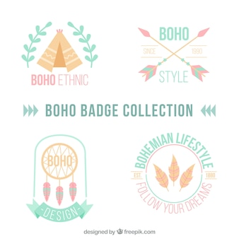 Great badges with indigenous decoration in flat design