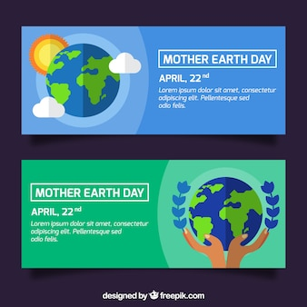 Great banners in flat design ready for mother earth day