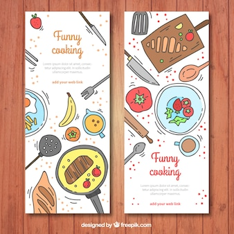 Great banners of hand-drawn colorful ingredients