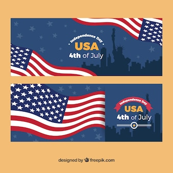 Great banners with american flag and silhouettes for independence day