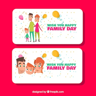 great banners with balloons and confetti for family day