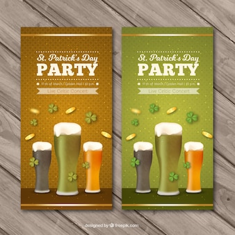 Great banners with different types of beer for st patrick's day