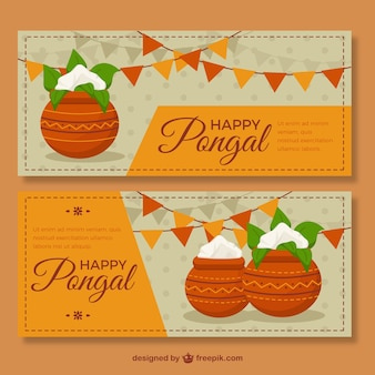 Great banners with sugarcane and garlands in flat design
