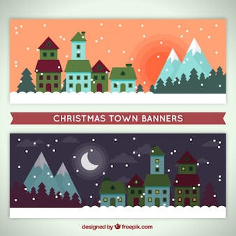 Great banners with town and mountains in flat style