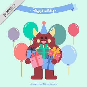 Great birthday background with monster holding gifts