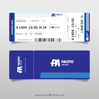 Great boarding pass template in blue tones