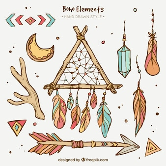 Great boho elements in hand-drawn style
