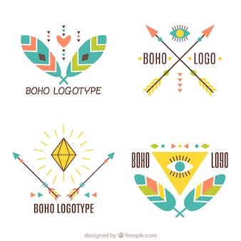Great boho logos with fantastic ornaments in flat design
