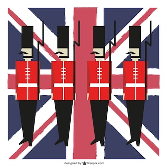 Great Britain guards and flag background