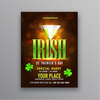 Great brochure with clovers and cocktail for st patrick's day