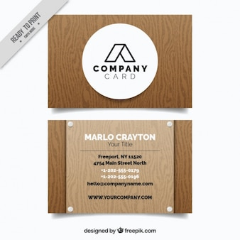 Great business card in wooden style