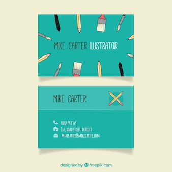 Great business card with decorative tools