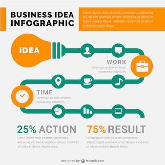 Great business infographic template with a light bulb
