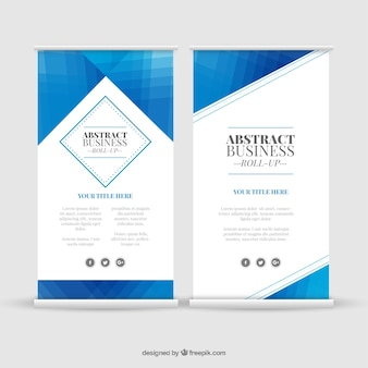 Great business roll up with geometric blue shapes