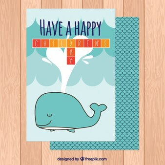 Great children's day card with a nice whale
