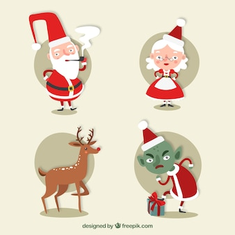 Great christmas characters with round backgrounds