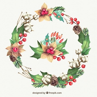 Great christmas wreath in watercolor style